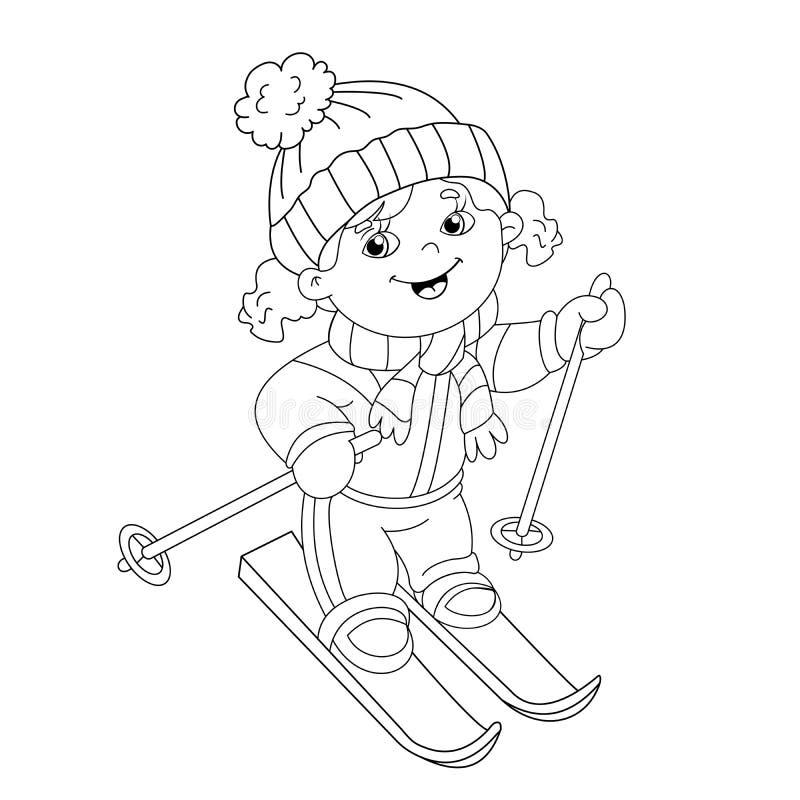 着色动画片在滑雪的女孩骑马页概述  库存例证