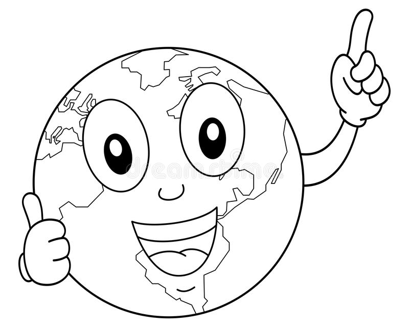 着色动画片行星地球字符 库存例证