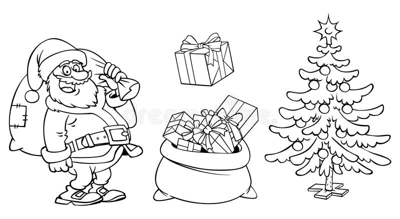 着色圣诞老人字符、一个袋子与礼物和圣诞节t 库存例证