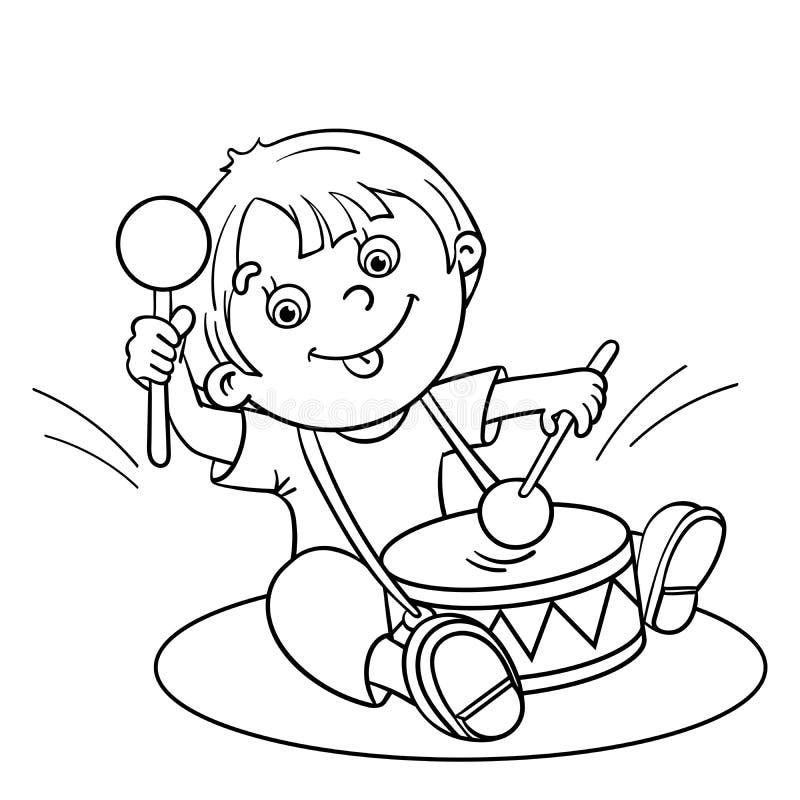 着色播放鼓的动画片男孩的页概述 向量例证