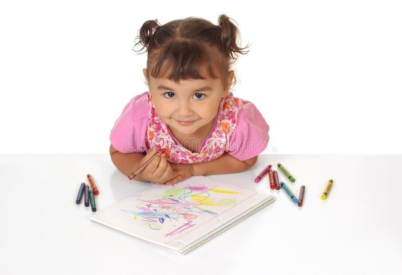 着色用蜡笔画女孩 免版税库存图片