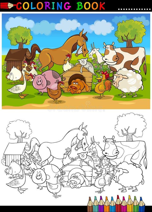 着色的农厂和家畜动物 库存例证