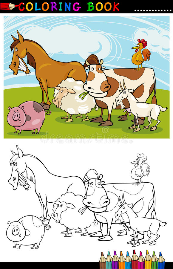 着色的农厂和家畜动物 免版税图库摄影