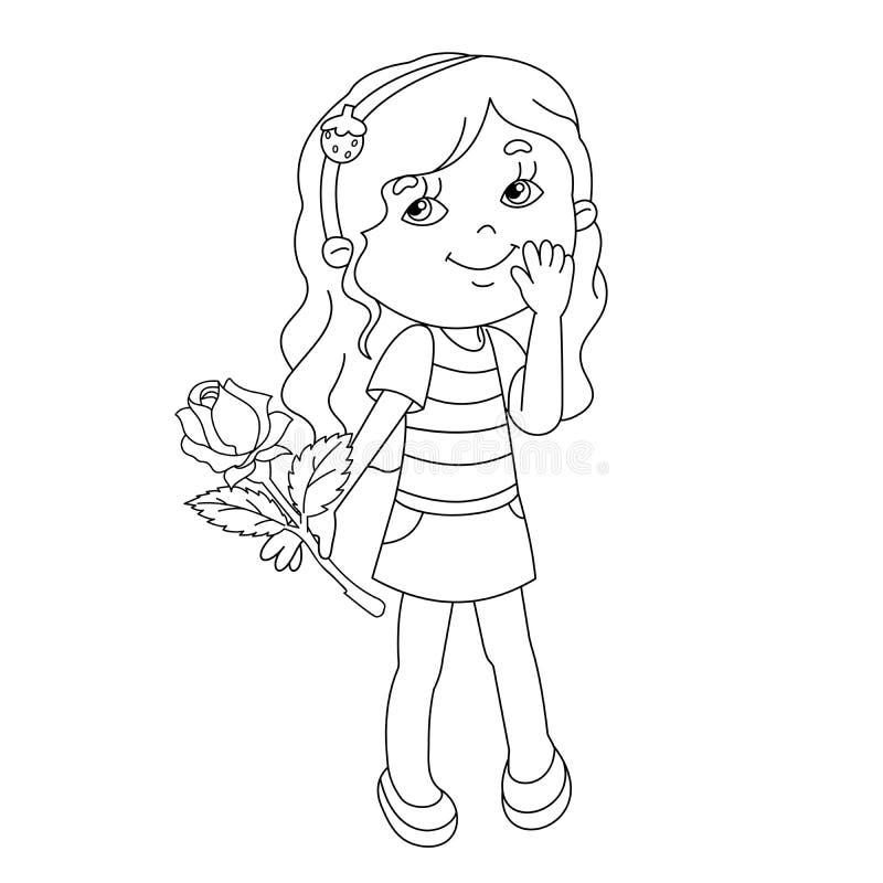 着色美丽的女孩页概述与在手中上升了 皇族释放例证