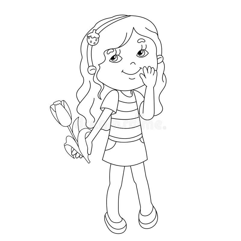 着色美丽的女孩页概述有郁金香的在手中 向量例证