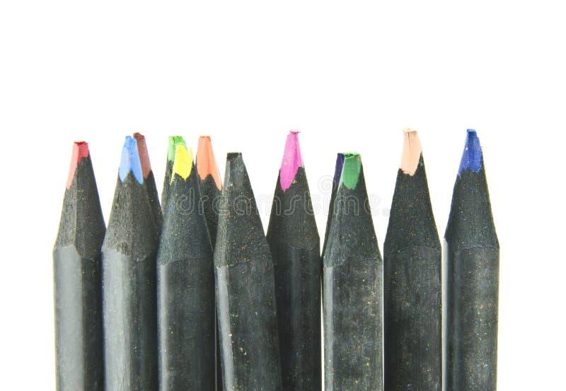 着色铅笔的选择在空白背景的 免版税库存图片