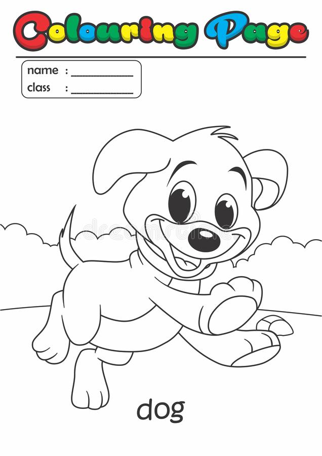 着色页彩图狗 等级容易适用于孩子 皇族释放例证