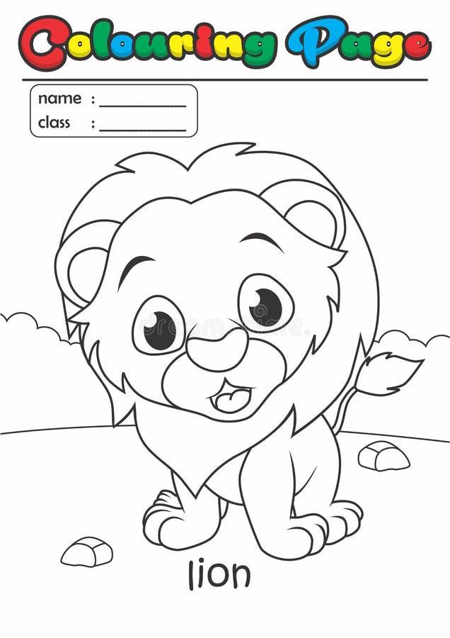 着色页彩图狮子 等级容易适用于孩子 向量例证
