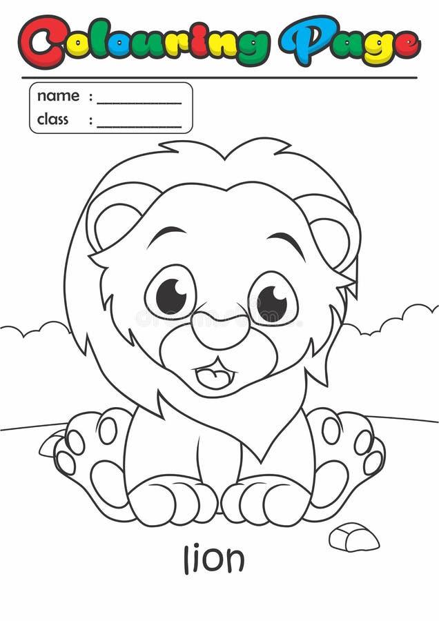 着色页彩图狮子 等级容易适用于孩子 皇族释放例证