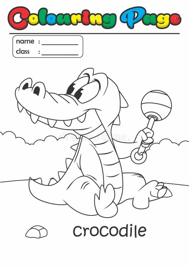 着色页彩图鳄鱼 等级容易适用于孩子 库存例证