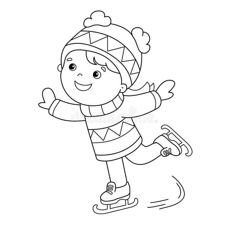 着色页概述动画片女孩滑冰 kiting的河滑雪多雪的体育图片