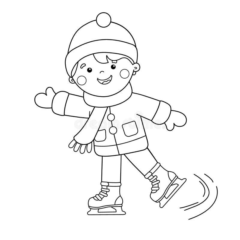 着色页概述动画片男孩滑冰 kiting的河滑雪多雪的体育图片