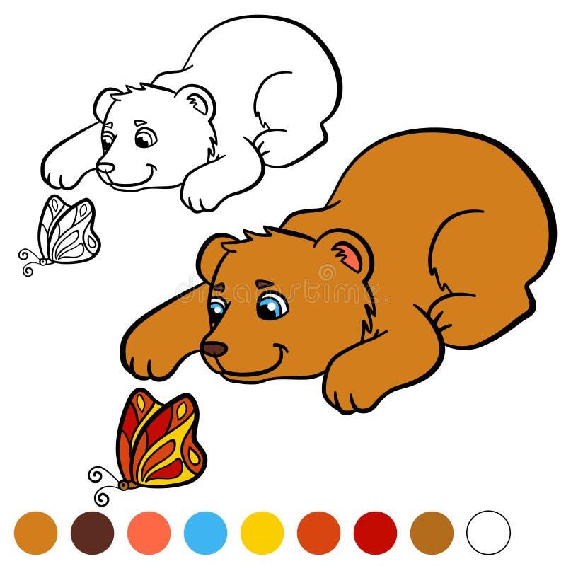 着色页 上色我:熊 小的逗人喜爱的婴孩熊 库存例证