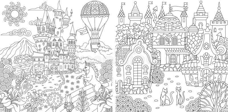 着色页 成人的彩图 与幻想城堡的上色在zentangle样式画的图片和房子 向量 皇族释放例证