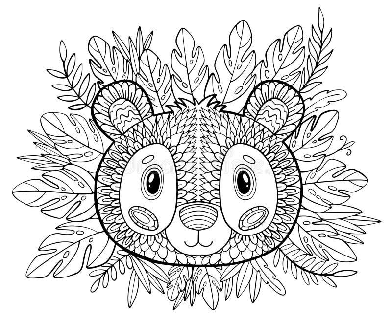 着色页 成人的彩图 与艺术品的美好的模板 学校教育 动物熊猫和热带植物 库存例证