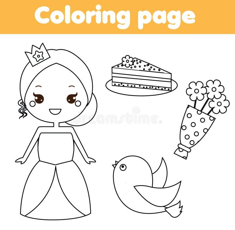 着色页 教育儿童比赛 公主题材 图画哄骗可印的活动 库存例证