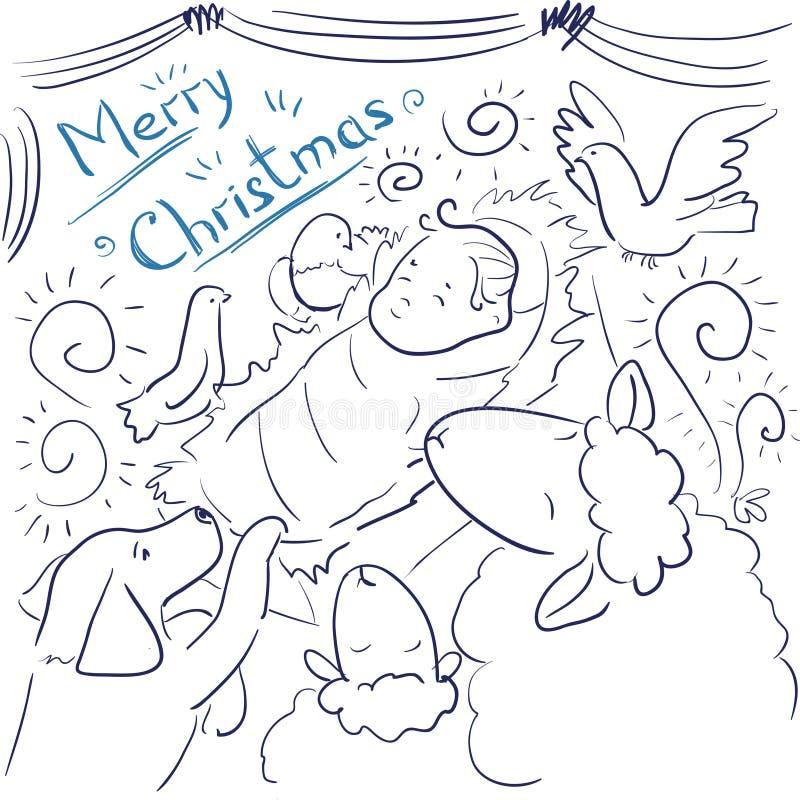 着色页-贺卡圣诞快乐 皇族释放例证