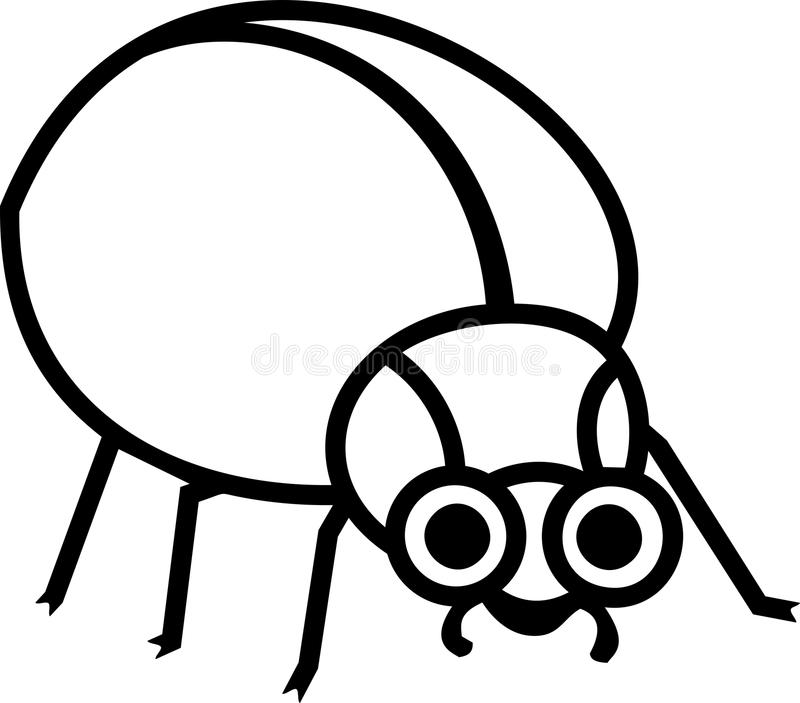 着色页 风格化动画片甲虫 库存例证