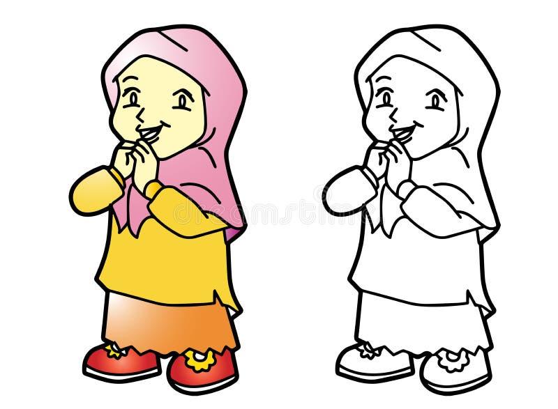 着色Melayu回教女孩-传染媒介例证 库存例证
