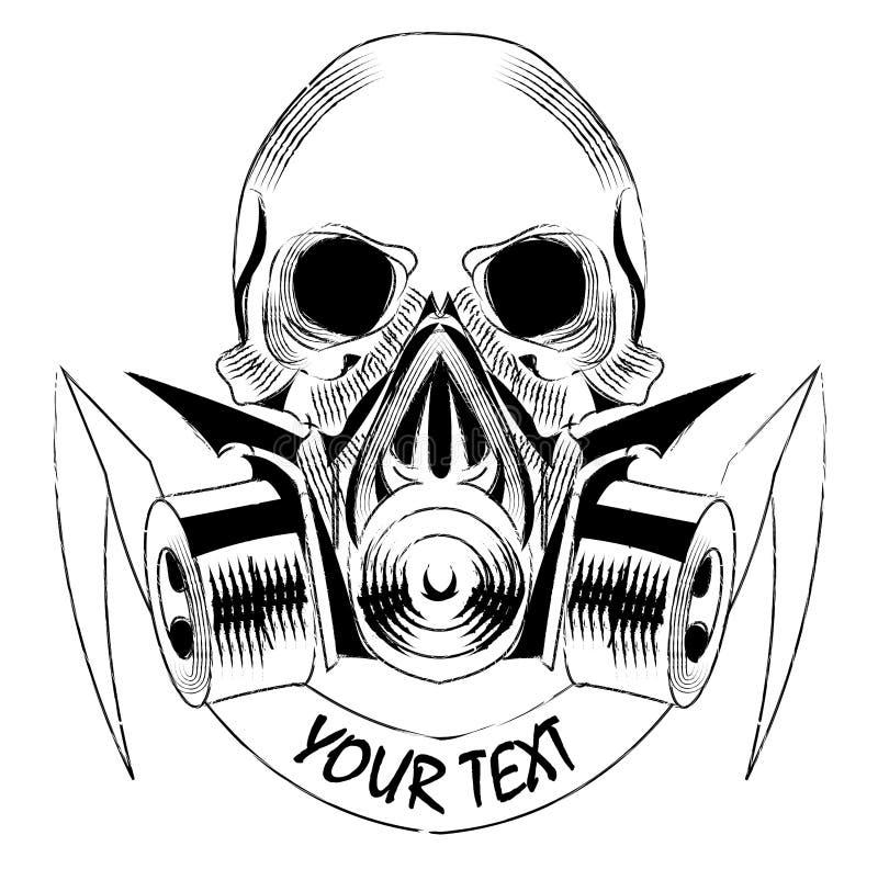 戴着防毒面具的头骨 与署名的传染媒介 向量例证