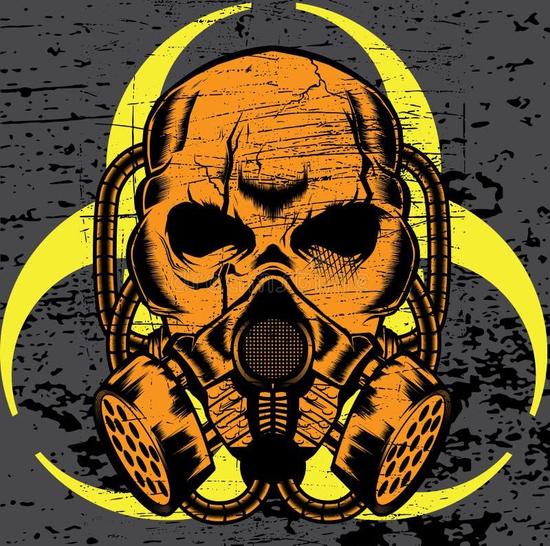 戴着防毒面具的头骨 向量 库存例证