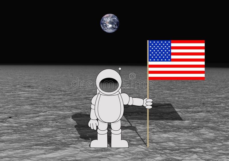 着陆月亮 皇族释放例证