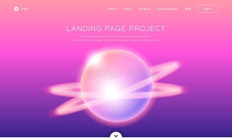着陆App发展、网页或者流动网站页模板  梯度背景,光亮的抽象行星 皇族释放例证