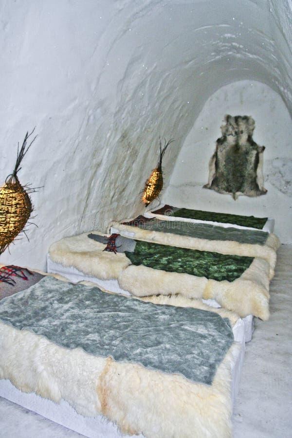 睡房在冰旅馆里 免版税图库摄影