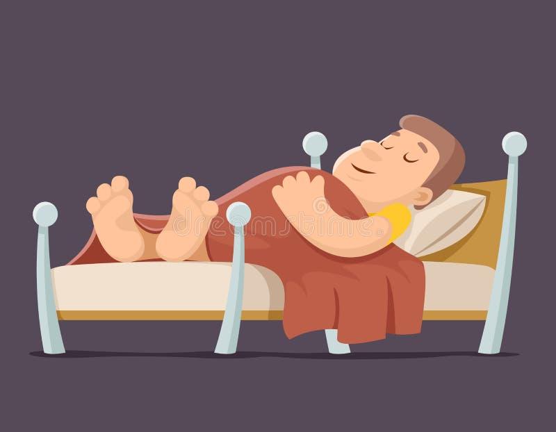 睡眠人卧床休养夜毯子枕头动画片设计传染媒介例证 向量例证