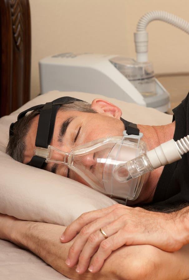 睡眠停吸和CPAP 库存照片