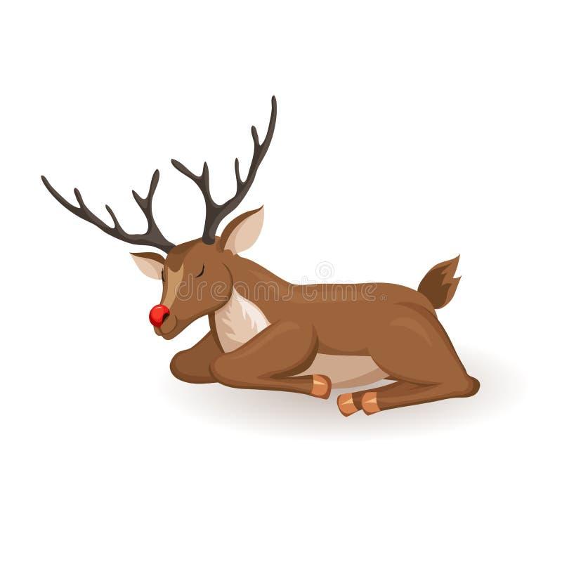 睡眠动画片驯鹿 皇族释放例证