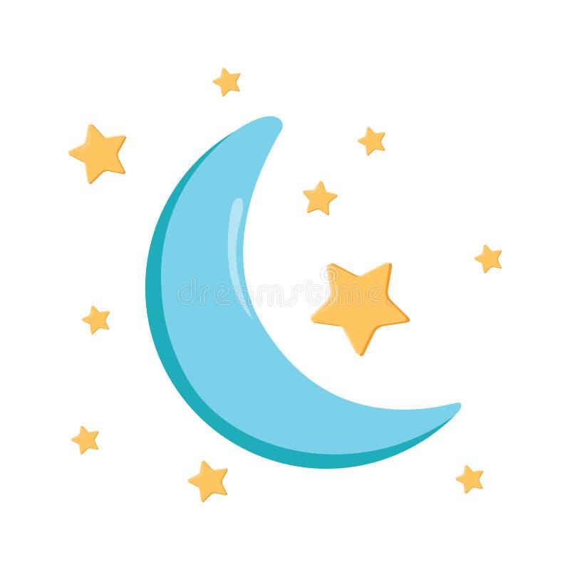 睡眠象,夜月亮睡觉标志 天空反对样式为 皇族释放例证