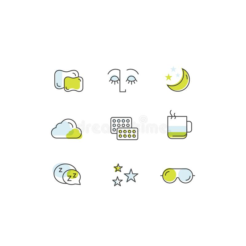睡眠问题和失眠象、治疗和药片,有面具的,热的饮料, sllepy面孔睡觉的人 库存例证
