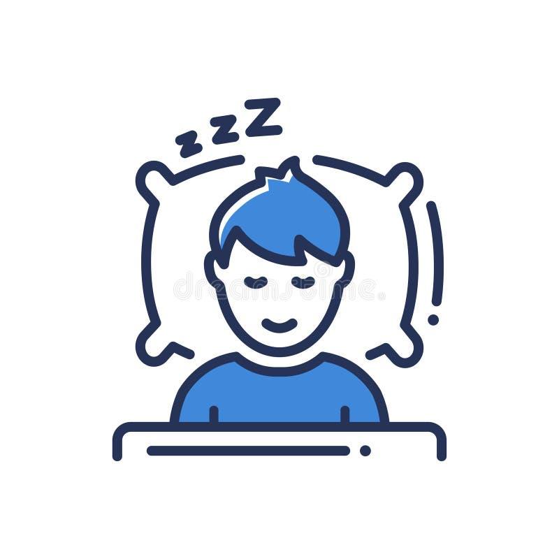 睡眠-现代传染媒介个别线路象 库存例证