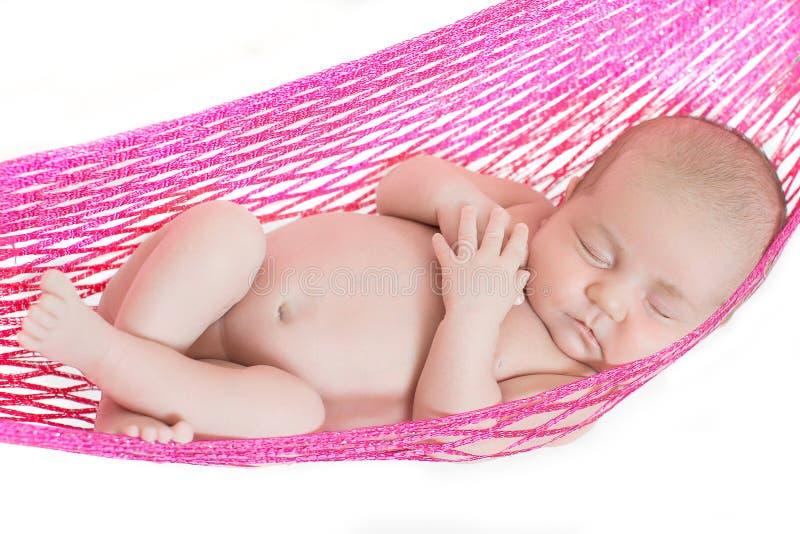 睡着新出生的婴孩 库存照片