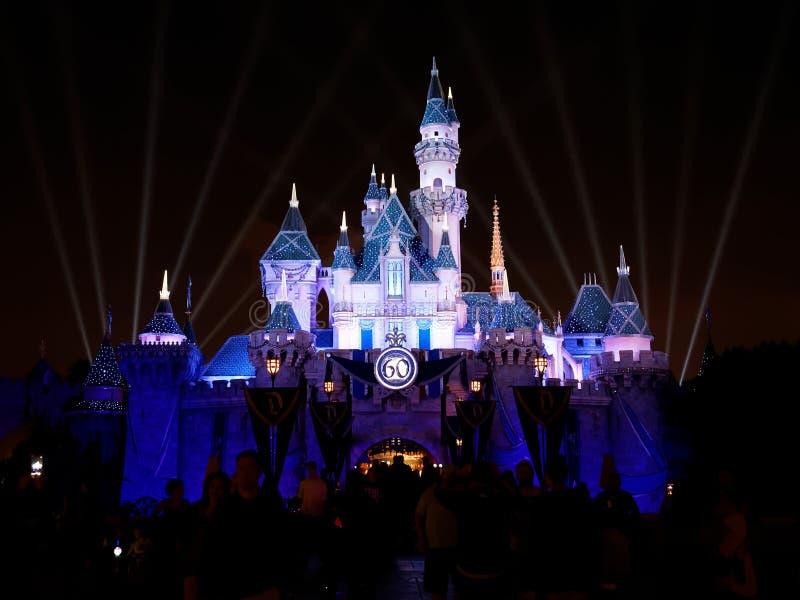 睡美人城堡在迪斯尼乐园 免版税库存照片