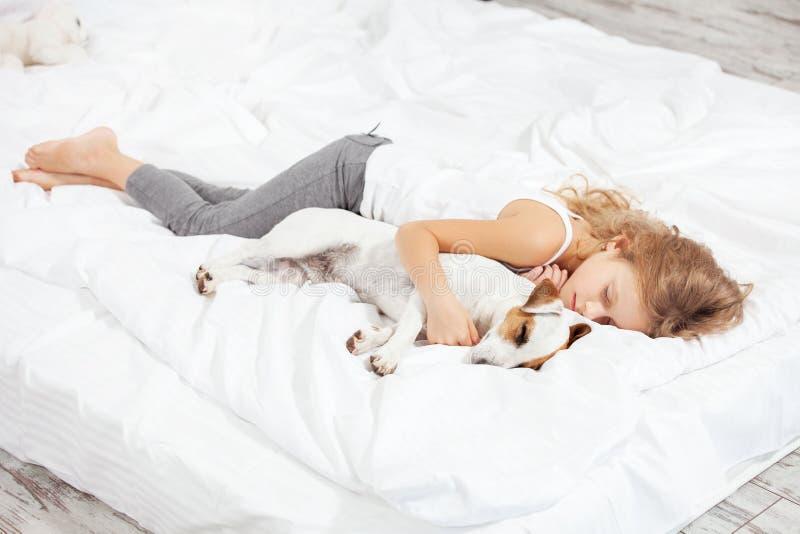 睡觉与狗的孩子 免版税库存照片
