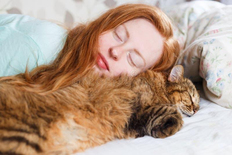 睡觉与猫的年轻redhair妇女 库存图片
