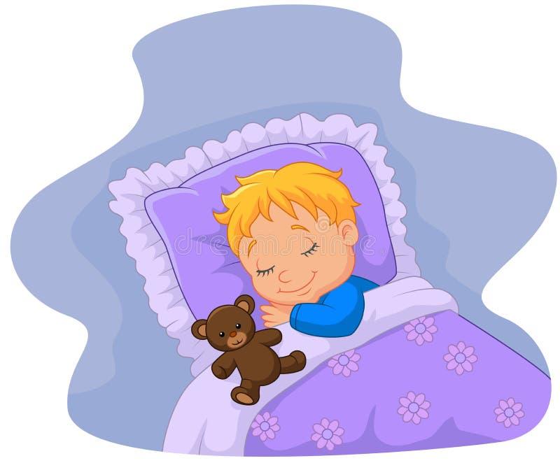 睡觉与玩具熊的动画片婴孩 皇族释放例证
