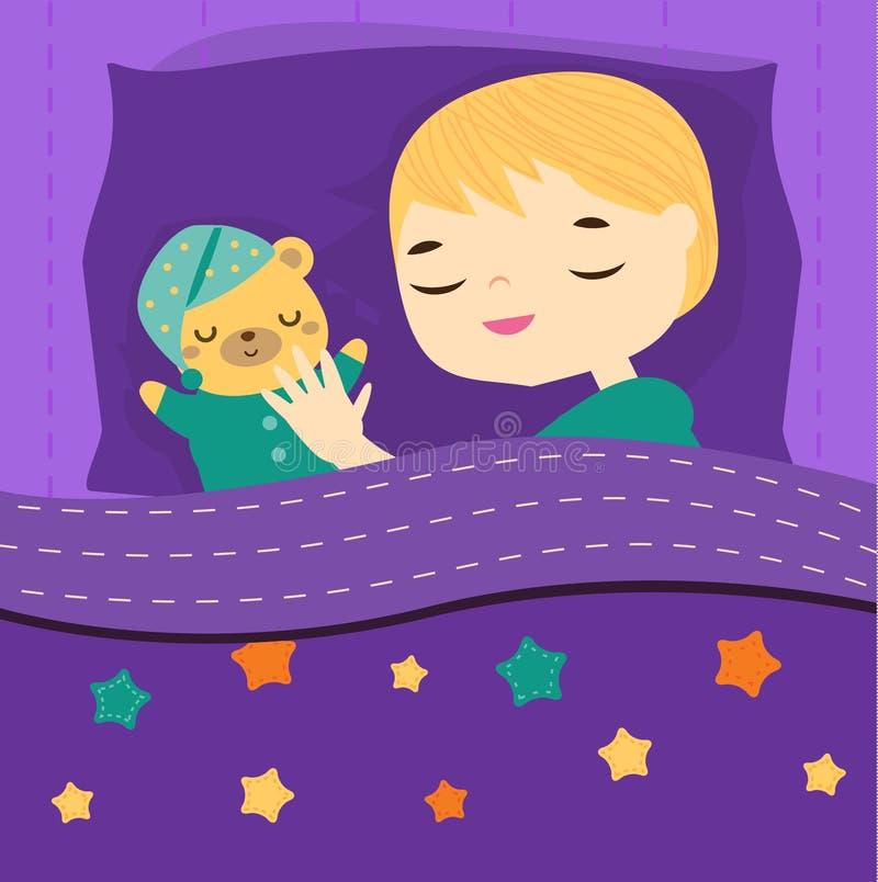 睡觉与玩具熊的逗人喜爱的男孩 动画片孩子在有的床上与玩具的晚安 婴孩上床时间 皇族释放例证