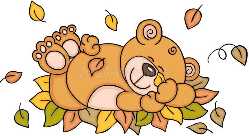 睡觉与秋叶的玩具熊 皇族释放例证