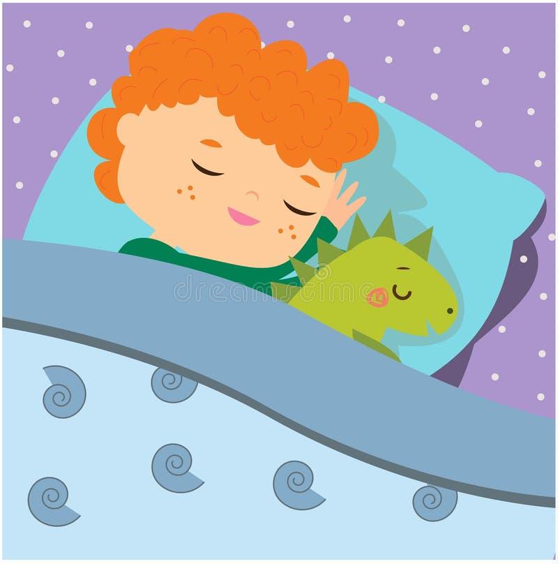睡觉与迪诺玩具的逗人喜爱的男孩 动画片孩子在有的床上晚安 婴孩上床时间 向量例证