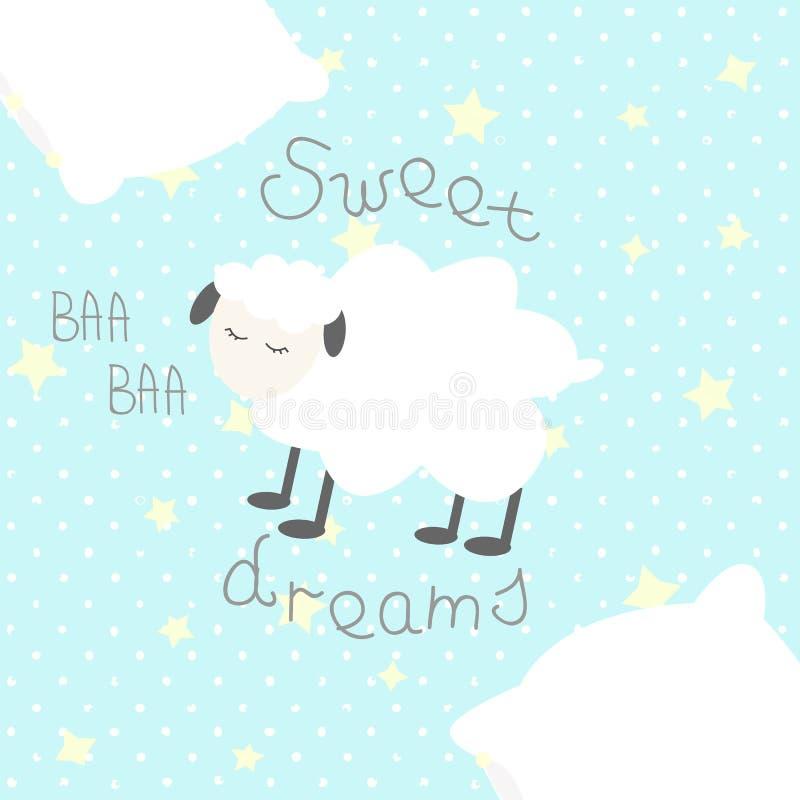 """睡觉动画片绵羊、星、枕头和手拉的文本""""Sweet Dreams†在圆点背景在白色 向量例证"""