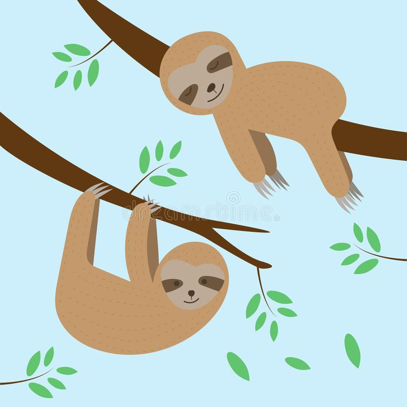 睡觉和垂悬在树枝的逗人喜爱的怠惰动画片 皇族释放例证