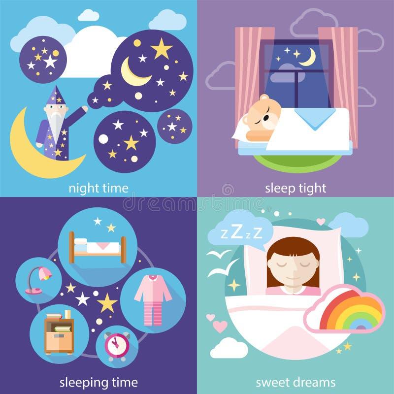 睡觉和夜间,美梦 向量例证