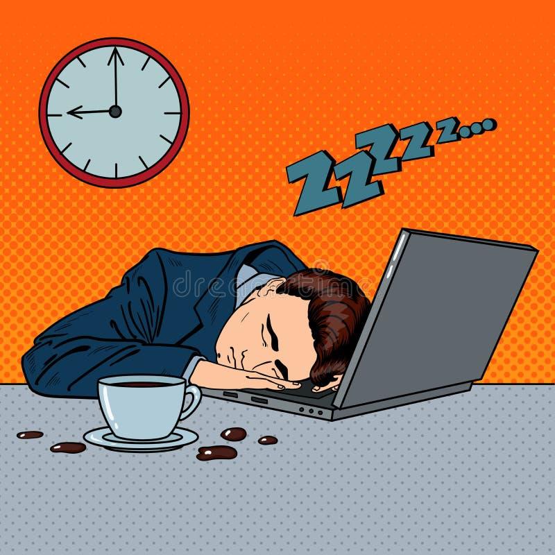 睡觉在一台膝上型计算机的疲乏的商人在办公室 流行艺术 皇族释放例证