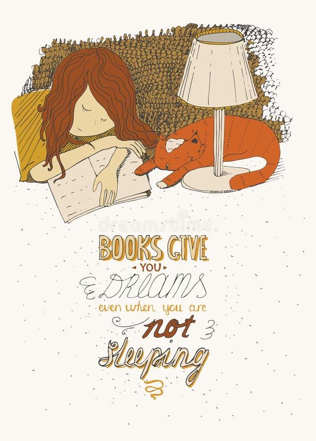 睡觉在书的女孩和猫 导航手拉的五颜六色的大例证,做用墨水,在米黄背景,与简单的moti 皇族释放例证