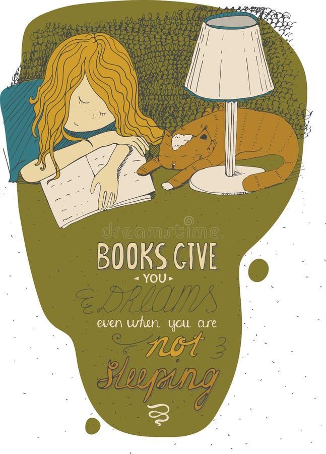 睡觉在书的女孩和猫 导航手拉的五颜六色的大例证,做用墨水,被隔绝在白色,与简单的motiva 皇族释放例证