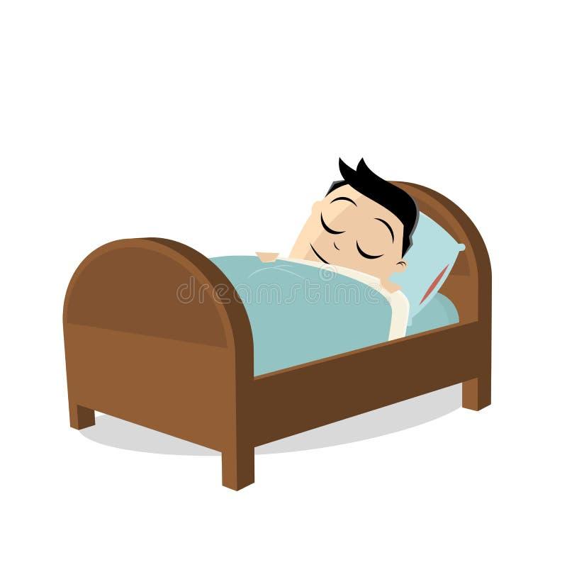 睡觉在他的床上的疲乏的人 库存例证