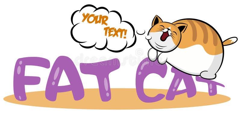 睡觉在商标的懒惰猫 说谎在胃动画片象的逗人喜爱的肥胖小猫 与重的宠物的略写法模板 对象征或stic 皇族释放例证